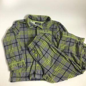 Joe boxer gray and green plaid pajama set